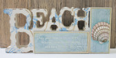 Blue Beach Word and Seashell Standing Sign
