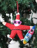 Surfer Red Suit Santa Ornament