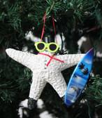 Surfer Snowman Starfish Ornament