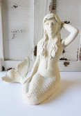 Large White Iron Mermaid Figure