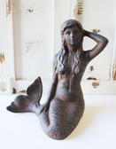 Large Brown Iron Mermaid Figure