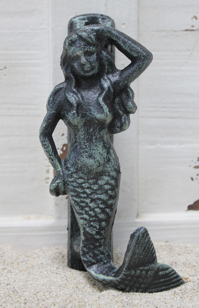 Green iron mermaid door knocker nautical home decor california seashell company - Mermaid door knocker ...