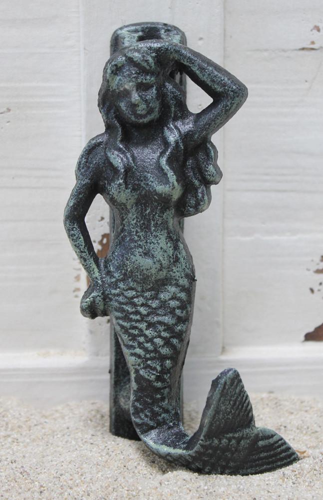 Green iron mermaid door knocker nautical home decor california seashell company - Mermaid door knocker ...