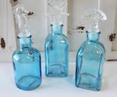 Set of 3 Blue Glass Bottles