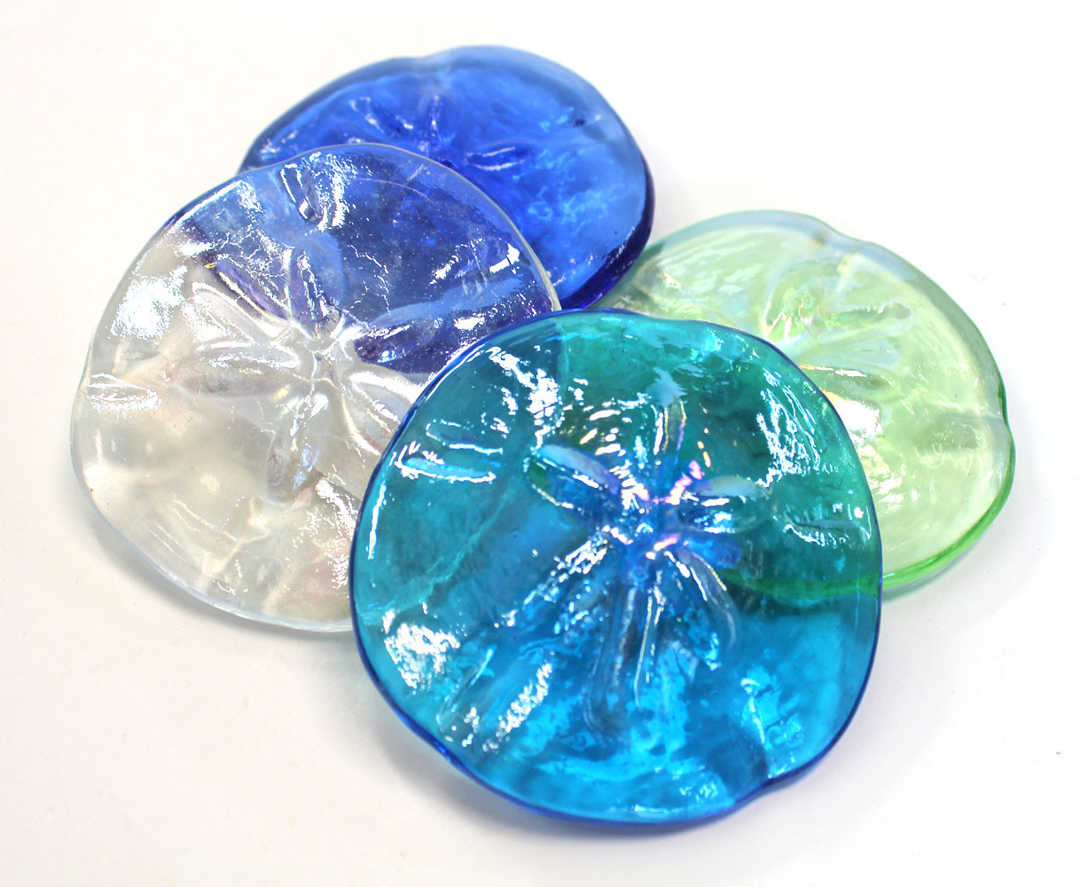 How To Measure Diameter >> Sand Dollar Colored Glass Paper Weights - Coastal Tabletop