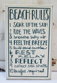 Beach Rules Wood Block Sign