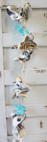 Oyster Shells And Light Blue Sea Glass Garland Shell