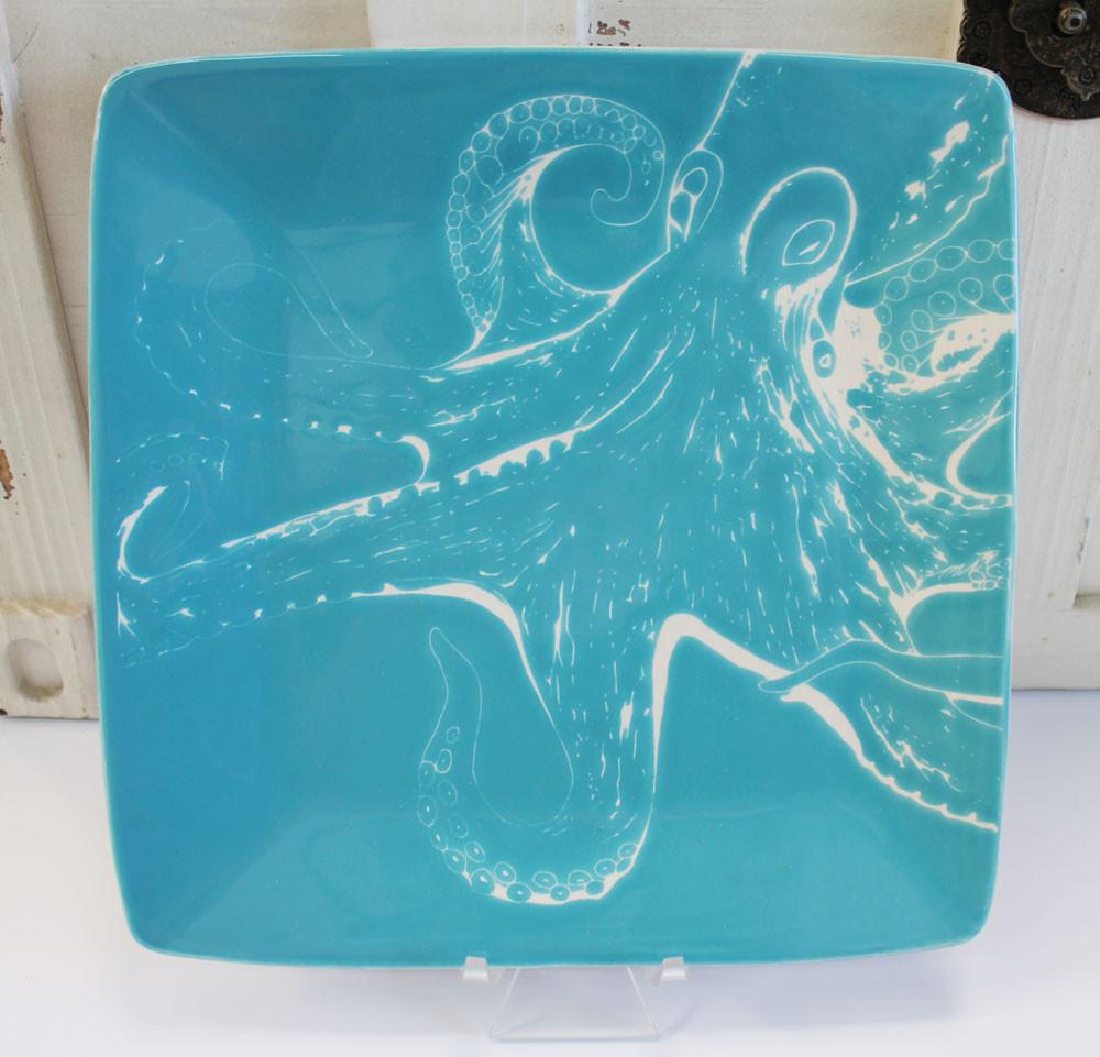 "Handmade Ceramic Platter In Coastal Kitchen: Ceramic 8.25"" Octopus Salad Plate"