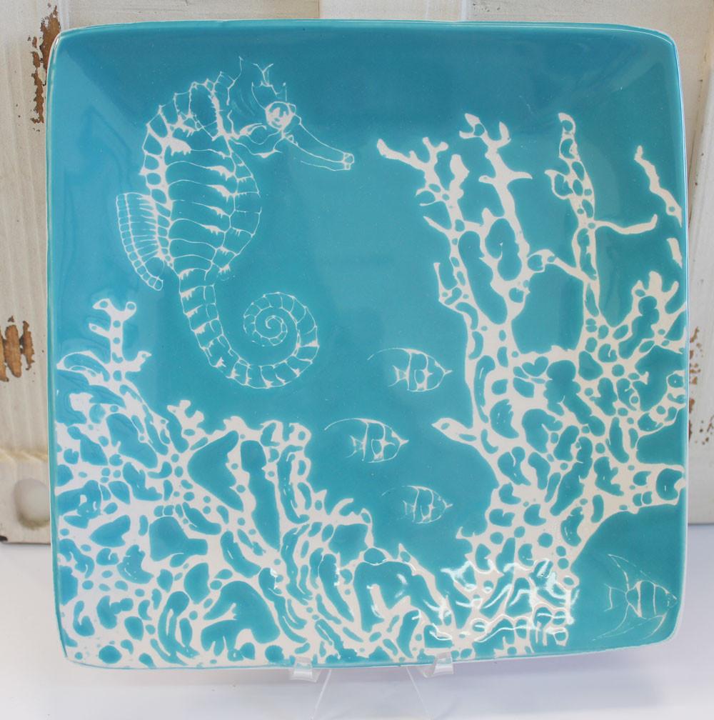 "Handmade Ceramic Platter In Coastal Kitchen: Ceramic 8.25"" Sea Horse Salad Plate"