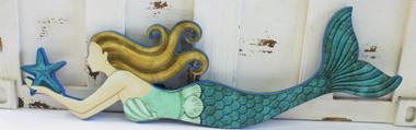 Mermaid Wood Wall Art mermaid wood wall art - blue tail mermaid - nautical wall decor