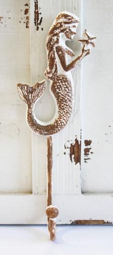 Brown Amp White Mermaid Profile Cast Iron Wall Hook Coastal Key Ring Or Towel Hanger