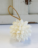 "2"" White Bubble Shell Ball Ornament"