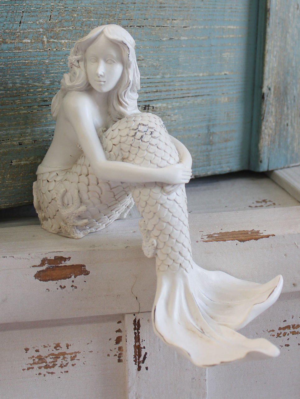 White Mermaid Shelf Sitting Figurine Sea Beauty