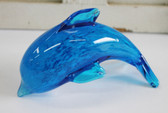 Blue Bubble Glass Dolphin Figure