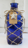 Blue Square Bottle with Fish Net & Tag