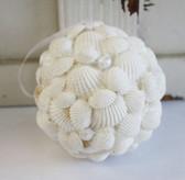 White Glitter Shell Ball Ornament