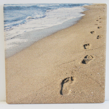 Footprints In The Sand Absorbent Beverage Coaster Beach