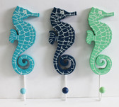 Blue, Navy Blue & Sea Green Sea Horse Hooks