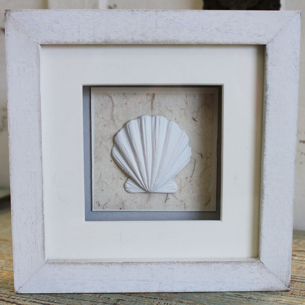 Beach Theme Home Decor Shadow Box Beach Gift: White Clam Shell Shadow Box