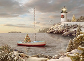 Decorated Harbor with Lighthouse and Sailboat