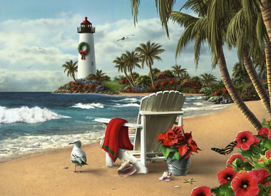 White Adirondack Chair on Beach with Lighthouse Holiday Cards