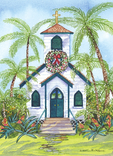 Tropical Church Christmas Card