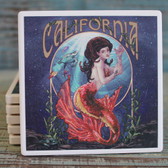 California Orange Mermaid Coaster