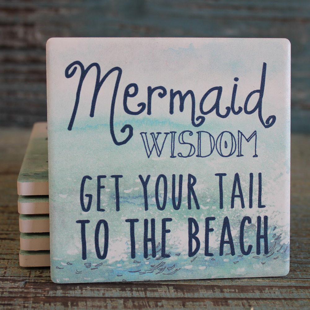 Mermaid Wisdom Absorbent Beverage Coaster Beach Cottage