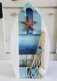 White & Blue Boat Frame with Fish Net