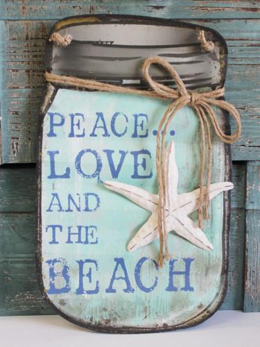 Peace, Love and the Beach Mason Jar Sign