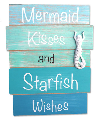 Mermaid Kisses And Starfish Wishes Wood Plank Sign