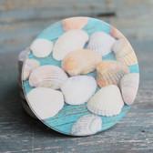 Seashells on Wood Car Coaster