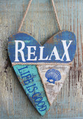 Coastal Heart Wood Plaque  - Relax