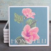 Honolulu Pink Hibsicus coaster