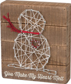 You make my heart melt - snowman string art sign.