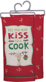 Yes, You May Kiss the Cook embroidered tea towel