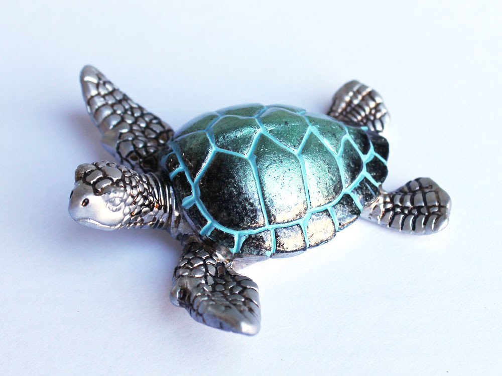 Aqua Turtle Pendant Turquoise Rhinestone Sea Turtle Necklace  |Turquoise Sea Turtle