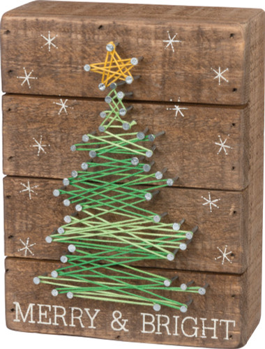 Merry & Bright Christmas Tree String Art