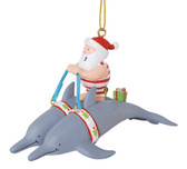 Dolphins Pulling Santa Ornament