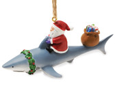 Santa on Shark with Presents Ornament