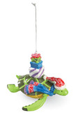 Ceramic Sea Turtle with Presents Ornament