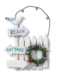 White Cottage Fence Ornament