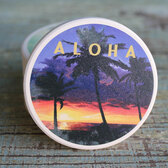 Aloha Sunset & Palm Trees Car Coaster