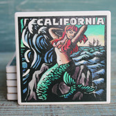 California Mermaid Scratchboard Coaster