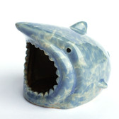 Blue Ceramic Shark Scrubby Holder