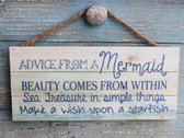 Advice from a Mermaid Wood Hanging Sign