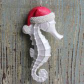White Santa Seahorse Ornament