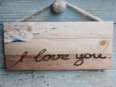 I Love You Sand Writing Rope Hanging Sign