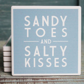 Sandy Toes and Salty Kisses Blue Coaster