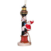 Santa Climbing Lighthouse Ornament